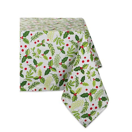 Design Imports Boughs of Holly Print Tablecloth 52-inch by 52-inch