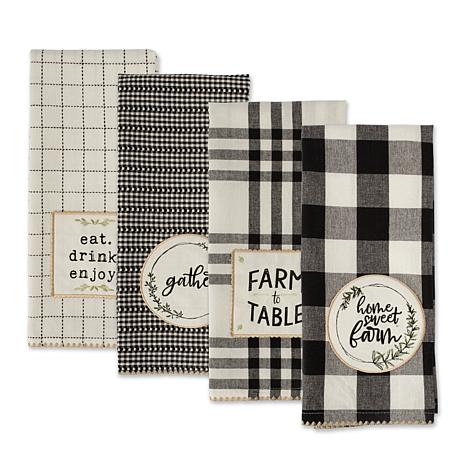 Design Imports Farm to Table Embellished Kitchen Towel Set of 4