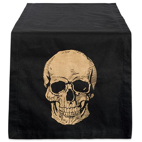 Design Imports Gold Skull Table Runner 14-inch by 108-inch