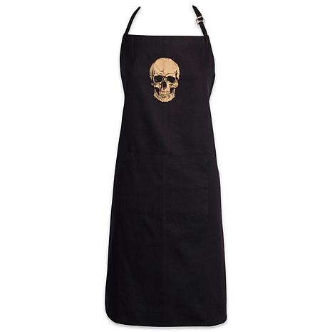 Design Imports Halloween Metallic Gold Skull Chef Apron