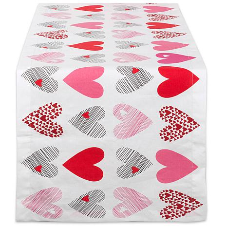 """Design Imports Hearts Collage Print Table Runner - 14"""" x 108"""""""