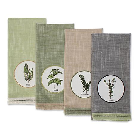 Design Imports Herbal Embellished Kitchen Towel Set 4-pack