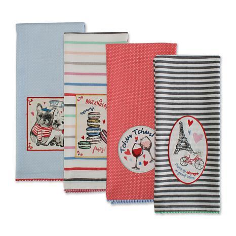 Design Imports Paris Embellished Kitchen Towel Set of 4