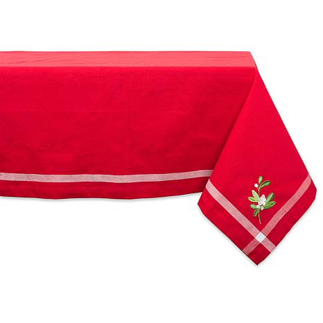 """Design Imports Red Embroidered Holly w/ Border Tablecloth 60"""" x 120"""""""