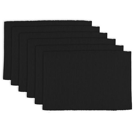 Design Imports Solid Ribbed Placemats 6-pack