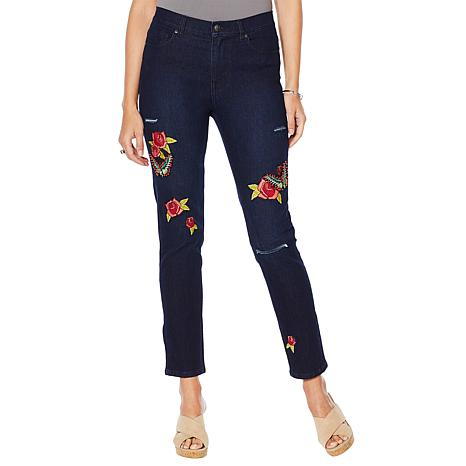 DG2 by Diane Gilman Beaded Butterfly Embroidered Skinny Jean