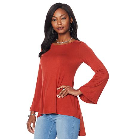DG2 by Diane Gilman Bell-Sleeve Hi-Low Blouse with Woven Back