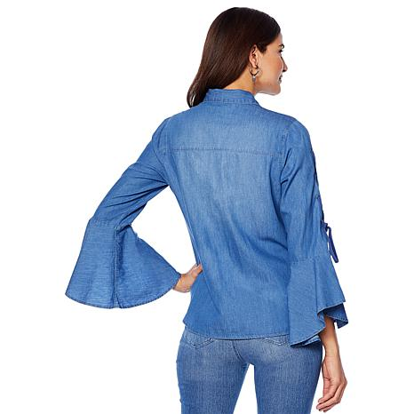 9a01f8cf49 DG2 by Diane Gilman Button-Front Denim Shirt with Lace-Up Sleeves - 8671383