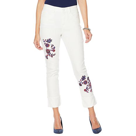 DG2 by Diane Gilman Classic Stretch Embroidered Cuffed Jean - Fashion