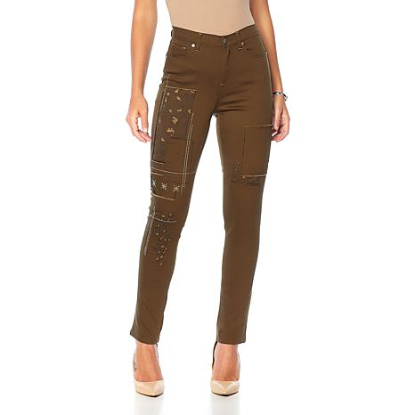 DG2 by Diane Gilman Classic Stretch Patched Embroidered Jean - Fashion