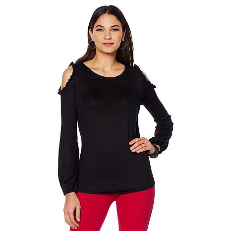DG2 by Diane Gilman Cold-Shoulder Top with Ruffle