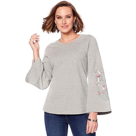 DG2 by Diane Gilman Embroidered Bell-Sleeve French Terry Top