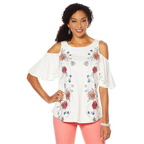 7f88e6405f7fd DG2 by Diane Gilman Embroidered Cold-Shoulder Top - 8947307