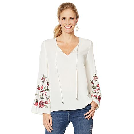 DG2 by Diane Gilman Embroidered Flare-Sleeve Blouse