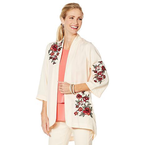 DG2 by Diane Gilman Embroidered Kimono Cardigan
