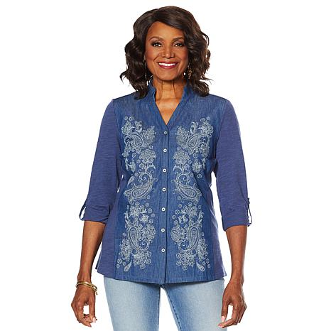 DG2 by Diane Gilman Embroidered Mixed Media Denim Top