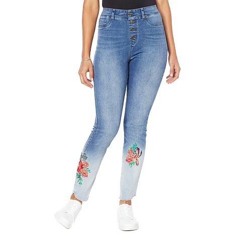 DG2 by Diane Gilman Embroidered Pull-On Exposed Button Jean