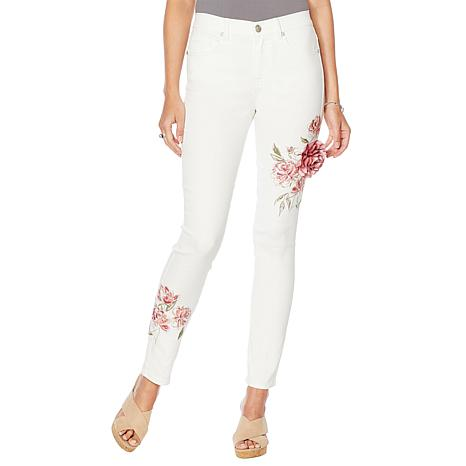 DG2 by Diane Gilman Embroidered Skinny Jean with Brooch