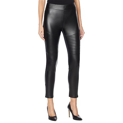DG2 by Diane Gilman Faux Leather and Ponte Moto Legging
