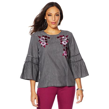 DG2 by Diane Gilman Flare-Sleeve Denim Top with Embroidery