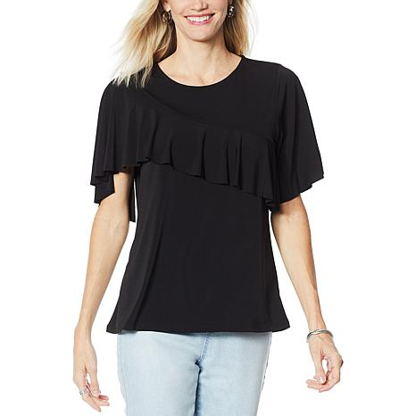 DG2 by Diane Gilman Liquid Jersey Knit Ruffle Top