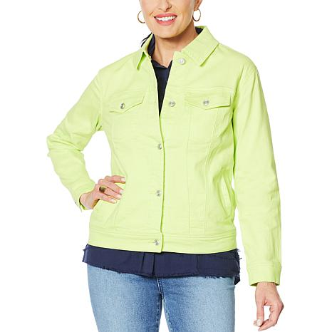 DG2 by Diane Gilman Neon Denim Trucker Jacket
