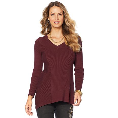 DG2 by Diane Gilman Quad Blend Asymmetric V-Neck Sweater