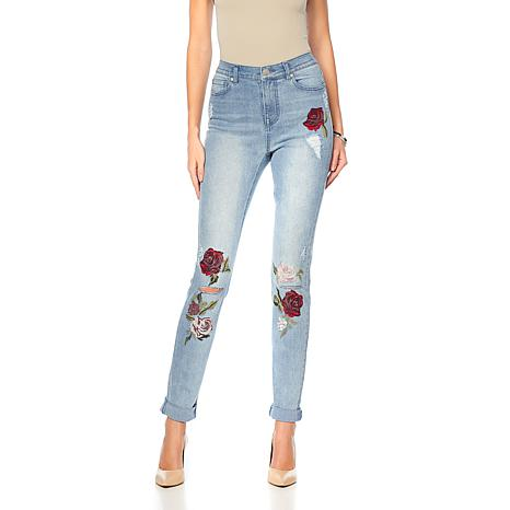 DG2 by Diane Gilman Roll-Cuff Skinny with Floral Embroidery - Basic