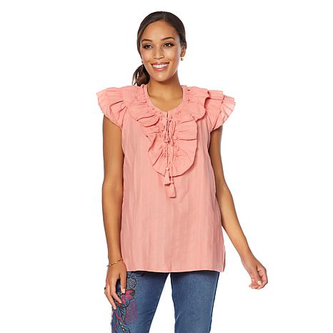 Dg2 By Diane Gilman Ruffle Tie Front Blouse 8620623 Hsn