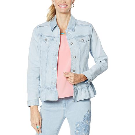 DG2 by Diane Gilman Ruffled-Hem Classic Stretch Denim Jacket