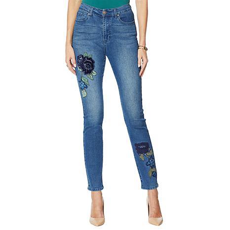 DG2 by Diane Gilman Skinny Jean with Velvet Embroidery - Basic