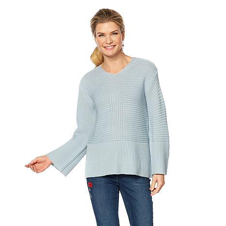 DG2 by Diane Gilman V-Neck Rib Knit Bell-Sleeve Sweater