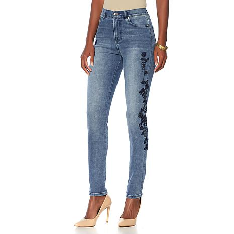DG2 by Diane Gilman Virtual Stretch Embroidered Sequin Jean