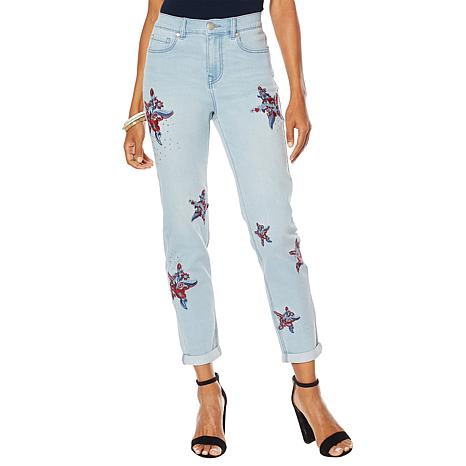 DG2 by Diane Gilman Virtual Stretch Embroidered Star Jean - Basic