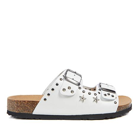 Diego di Lucca Star Studded Leather 2-Band Footbed Sandal
