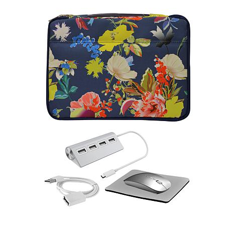 "Digital Basics 13"" 2-in-1 Laptop Sleeve with Mouse and USB Hub"