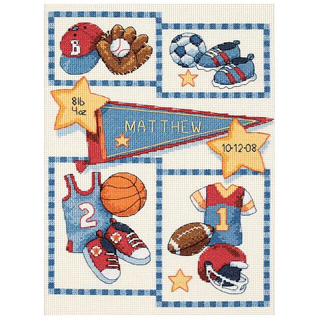 Dimensions/Baby Hugs Counted Cross Stitch Kit 9X12 - Little Sports Birth  Record (14 Count)
