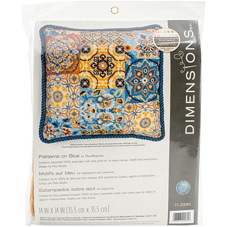 Dimensions Needlepoint Kit - Patterns On Blue Stitched In Wool