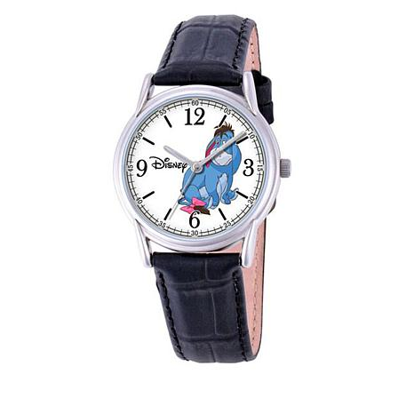 Disney Eeyore Silvertone Black Leather Strap Watch