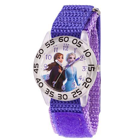 Disney Frozen 2 Elsa and Anna Kids' Clear Watch w/ Purple Nylon Strap