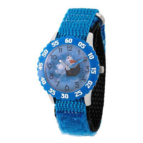Disney Frozen 2 Olaf Kids' Blue Bezel Watch with Blue Nylon Strap