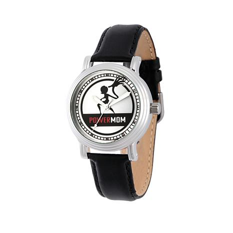 "Disney Incredibles ""Power Mom"" Black Leather Strap Watch"