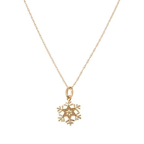 "Disney Kids 14K Snowflake Pendant with 13"" Chain"