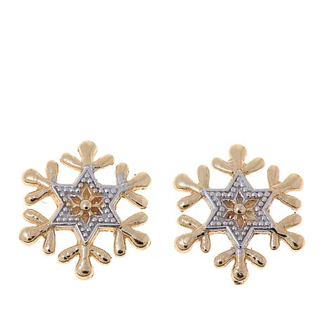 Disney Kids 14k Yellow Gold Snowflake Stud Earrings