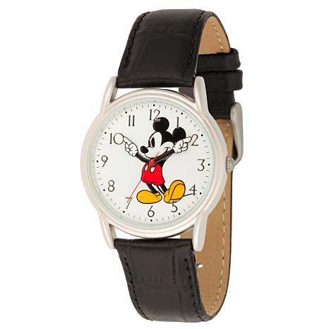Disney Mickey Mouse Men's Silver Cardiff Watch w/ Black Leather Strap