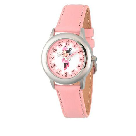 Disney Minnie Mouse Kids' Pink Leather Strap Watch