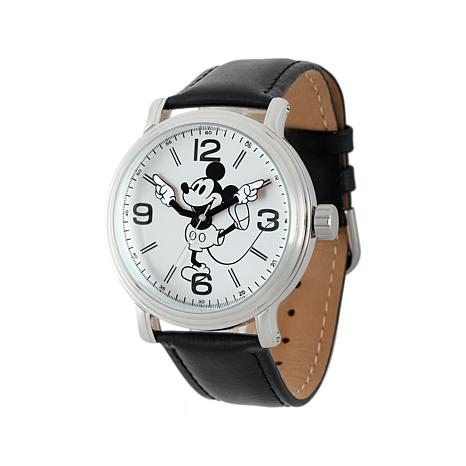 Disney Vintage-Style Classic Mickey Mouse Black Leather Strap Watch