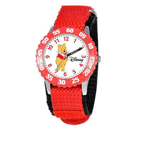 Disney Winnie-the-Pooh Kid's Time-Teacher Watch w/Rotating Bezel - Red