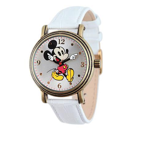Disney Women's Mickey Mouse Moving Hands Leather Watch