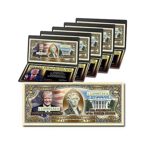 Donald Trump 45th President 22K-Plated $2 Bills - 5pk